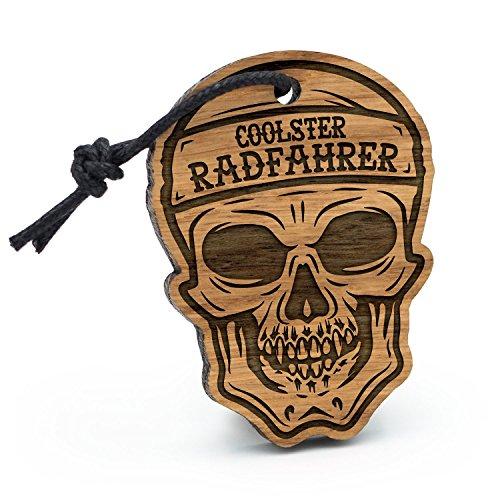 Fashionalarm Schlüsselanhänger Totenkopf Coolster Radfahrer aus Holz mit Gravur | Geschenk Idee Fahrrad Fahrer Radsport Rennrad Beruf Hobby