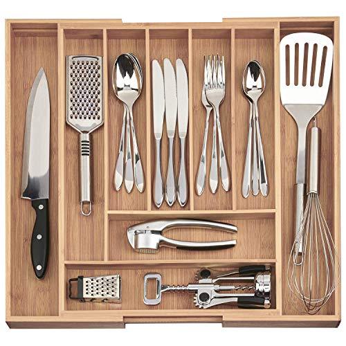 Dimono® cassetto inserto in legno di bambù sistema di organizzazione cassetto posate flessibile inserto Organizzatore cassetto estraibile organizzazione per la cucina, ufficio, bagno e laboratorio