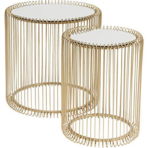 Kare Design Beistelltisch Wire Gold 2er Set, runder, moderner Glastisch, kleiner Couchtisch, Kaffeetisch, Nachttisch, 45x44cm