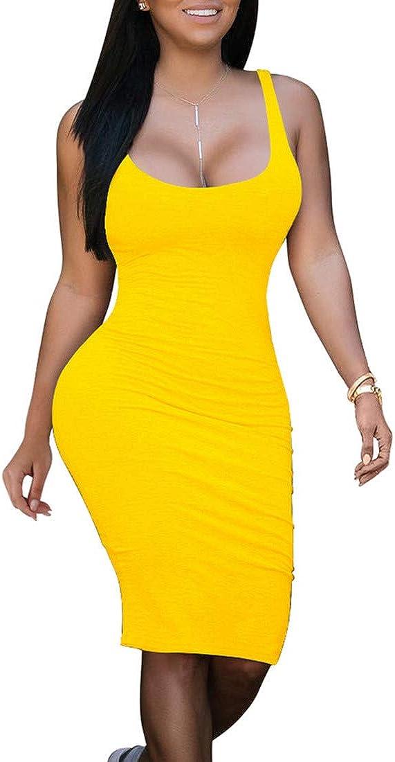 BORIFLORS Women's Sexy Bodycon Club Tank Dress Basic Midi Party Dresses Clubwear