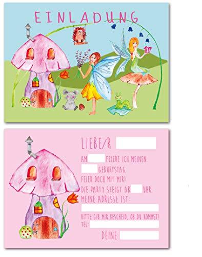 12 Einladungskarten für Kindergeburtstag Fee/Feen-Party/Format DIN A6 / zum Ausfüllen (Fee)