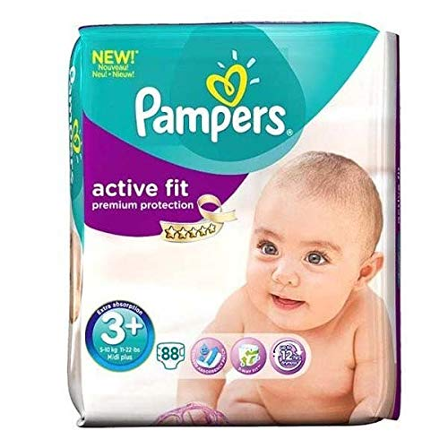 Couches Pampers - Taille 3+ active fit - 88 couches bébé