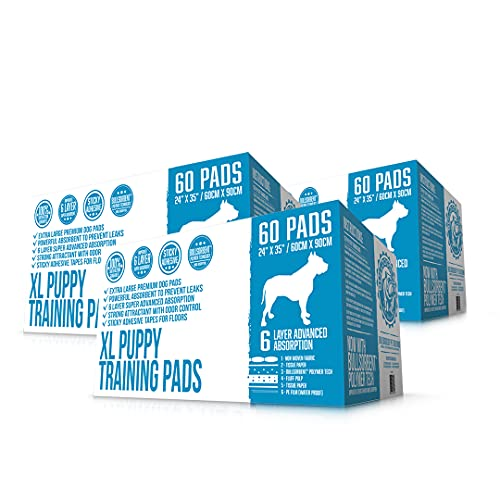 Bulldogology Puppy Pee Pads XL with Adhesive Sticky Tape - Extra Large Dog Training Wee Pads (24x35) 6 Layers with Extra Quick Dry Bullsorbent Polymer Tech (180-Count, White)