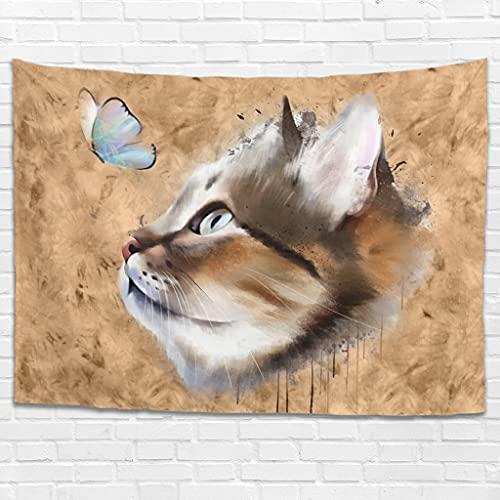 Tapiz para colgar en la pared, diseño de animales de gato, moderno, para colgar en la pared, para dormitorio, sala de estar, como toalla de playa, mantel blanco 150 x 130 cm
