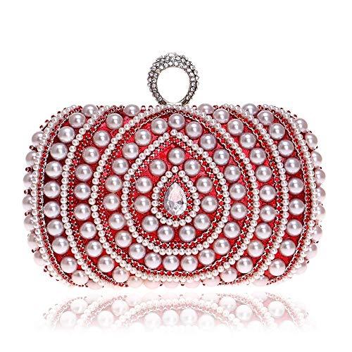 G-rf Women Fashion Banquet Party Pearl Handbag (Black) (Color : Red)