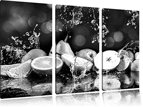 Vruchten in water Art B & WFoto Canvas 3 deel | Maat: 120x80 cm | Wanddecoraties | Kunstdruk | Volledig gemonteerd