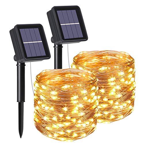flintronic Solar Lichterketten, 2PCS 10M 100 LED Solar Lichterkette Aussen IP64 Wasserdicht, 8 Modi Lichterkette Außen für Garten, Bäume, Terrasse, Weihnachten, Hochzeiten, Partys - Warmweiß