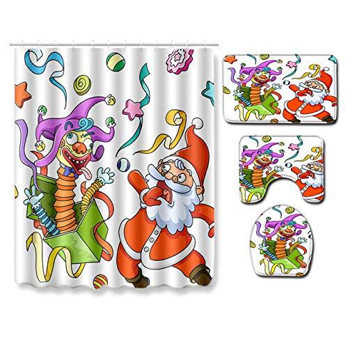 KEAINIDENI Wc-mat Boerderij Decor Kerstmis Badkamer Douche Gordijn 3D Badmat Anti Slip 4 Stuk Toilet Mat Set Tapijt voor Slaapkamer Tapijten S 45x75cm Q43