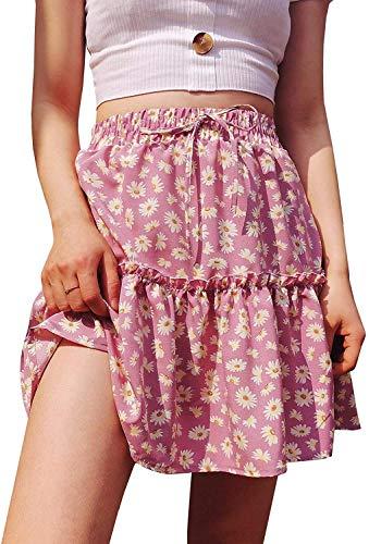 Doballa Damen Böhmische Blumen-Druck mit hohen Taille Rüschen Ausgestelltes Boho-Linie Plissee Skater Minirock (Rosa Gänseblümchen,X-Large)