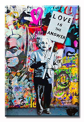 DJSYLIFE Graffiti Wall Art 'Love is Answer' - Lienzo impreso de pintura colorida para la calle, arte de la calle, cuadros para sala de...