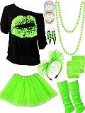 Ensemble d'Accessoires de Costume des Années 80, T-Shirt Tutu Bandeau Boucles d'oreilles...