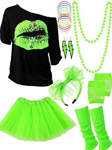 Blulu 80 Jahre Kostüm Zubehör für Damen Set, T-Shirt Lippenprint Erwachsener Tutu Rock Spitzen Stirnband Neon Ohrringe Halskette Beinlinge Netz Handschuhe Armband (Fluoreszierendes Grün, XXL)