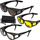 3 PAIRS- Escort Advanced System Safety Glasses Fits Over Most Eyewear - FREE Rubber EAR LOCKS and Microfiber Pouch! -Gloss Black Frame