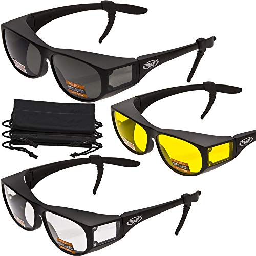 online glasses retailers 3 PAIRS- Escort Advanced System Safety Glasses Fits Over Most Eyewear - FREE Rubber EAR LOCKS and Microfiber Pouch! -Gloss Black Frame