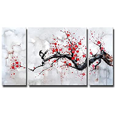 Black White Red Modern Abstract Cherry Blossom Wall Art Picture 3pcs Oil Paintings on Canvas Handmade for Living Room Home Decor Framed