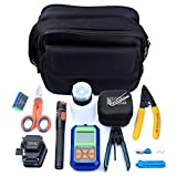 Cruiser 11 Pieces of Optical Fiber hot melt Tool kit Bag 10km Visual Fault Locator with FC Male LC Female Adapter 6C Fiber Cleaver and Mini Optical Power Meter Stripper Tools