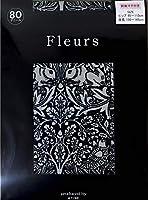 Fleurs(フルール) FZ-2000_6BK(1632) プリントタイツ ウィリアム・モリス 兄弟ウサギ柄 マチ付きゆったりタイプ 80デニール ゾッキタイプ 日本製