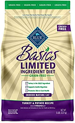 Blue Buffalo Basics Limited Ingredient Diet Grain Free, Natural Indoor Mature Dry Cat Food, Turkey & Potato 5-lb