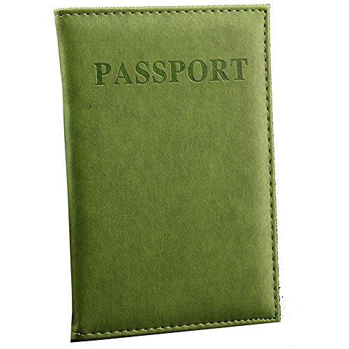 Porta Passaporto per Donna o Uomo. Portafoglio da Viaggio in Pelle PU (Verde chiaro)