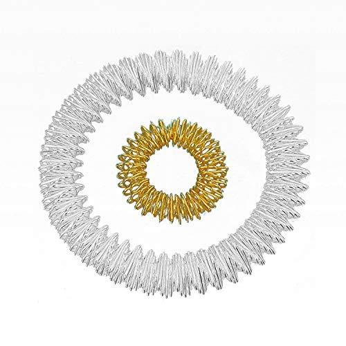 Set de anillo de potencia – Pulsera (Plata) + Anillo (Oro Pequeño) / Anillo de acupresión/Anillo de masaje/Pulsera de masaje/Armmassaging Plata