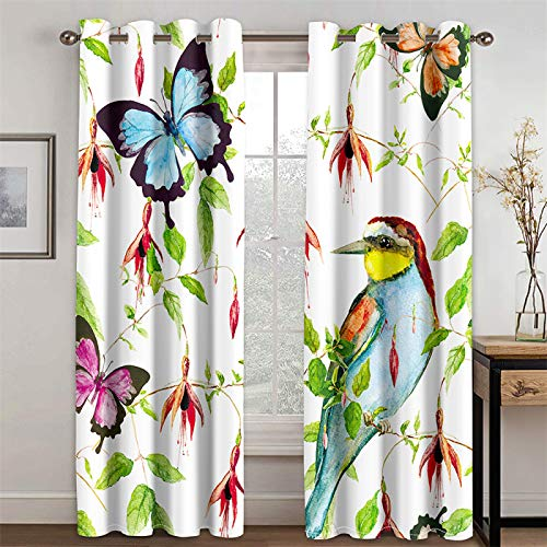 YUNSW Schmetterlingsmuster Innendekoration Vorhang Wohnzimmer Küche Schlafzimmer Blackout Wärmeisolierung Vorhang , 2-Teiliges Set