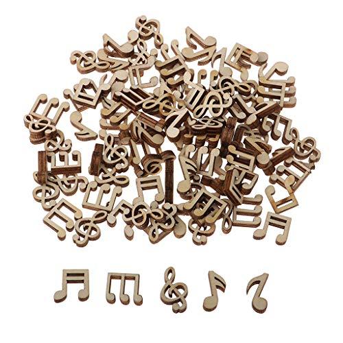 Hellery 100pcs Holzscheiben Holz Musiknote Deko Holzknöpfe Verzierung DIY Handwerk Verzierungen Mittelstücke