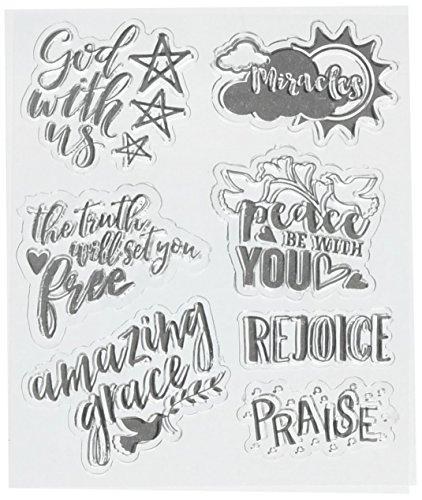 American Crafts 7 Piece Stamps Bible Journaling Scrapbook Spiritual God Grace 378667