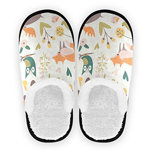 PUXUQU Hausschuhe für Frauen Süß Eichhörnchen Fuchs Eule Igel Elch Nüsse Pflanzen Blumen Hausschuhe Schlafzimmerschuhe Hausschuhe für Frauen Männer Kinder Kinder Indoor Travel Verwendung