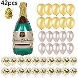 ZSQQSCL Decoraciones Fiesta Cumpleaños,Globo De Una Botella De Vino (42 Pcs), Verde Botella De Champán De Aluminio, Golden Globo Pequeño Tapón De Vino, Globo Multicolor para Niños, Adulto,Cumpleaños