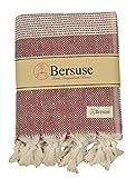 Bersuse Manta de algodón 100% – Hierapolis XXL Toalla turca – Borgoña XL, 152,4 x 241,3 cm