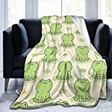 Feartdiy Cute Cartoon Frog Blanket for Kids Adults Women,Soft Fleece Throw Blanket Cozy Bed Blankets King Size for Couch Bed Travel Camping 50'X40'
