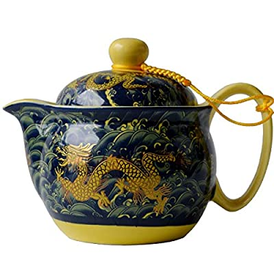 Yxhupot Teapot China Porcelain 12oz Dragon Navy blue Stainless Filtration Infuser for Loose Tea (navy blue)