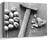 Wall Art Canvas Print Photo Artwork Home Decor (24x16 inches)- Nutcracker Hammer Nutshell Diet Health Macro