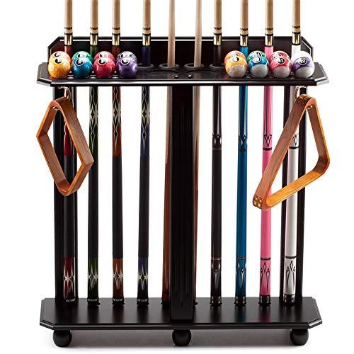 GSE Games & Sports Expert Floor Stand Billiard Pool Cue Racks. Holds 10 Pool Cues and Full Set of Pool Balls (Black)