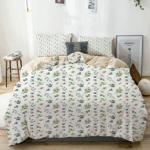 Juego de funda nórdica beige, aspecto romántico femenino, aspecto de acuarela, rosas y hojas, juego de cama decorativo de 3 piezas con 2 fundas de almohada, fácil cuidado, antialérgico, suave y liso