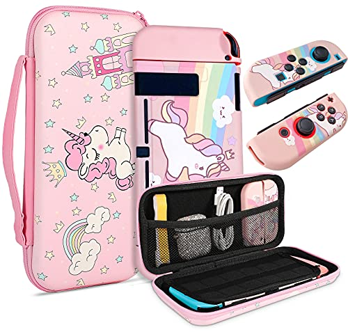 TCJJ Unicorn Hard Carrying Case for Nintendo Switch- Pink Portable Travel Case with Soft TPU Protective Case Cover Compatible with Nintendo Switch for Girls