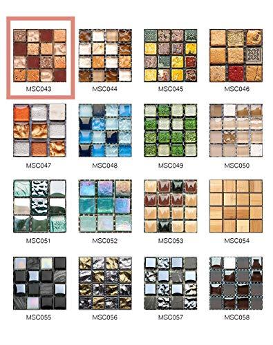 50 Pezzi 3D Adesivi per Piastrelle Mosaico Mattonelle Sticker Autoadesivo Mattonelle Parete PVC Impermeabile per Bagno Cucina Piastrelle Wall Stickers (10*10CM*50pcs, MSCO43)