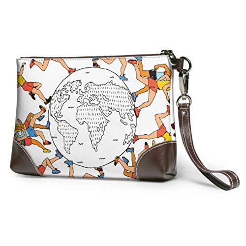 XCNGG Weiche wasserdichte weiche Leder Wristlet Tag der Erde Konzept Wristlet Leder Clutch mit Reißverschluss für Frauen Mädchen