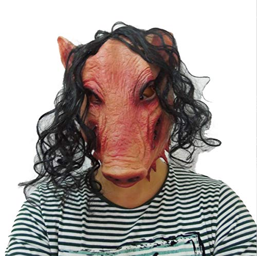 JIGSAW SAW Schweine Maske mit Kunsthaaren - perfekt für Fasching, Karneval & Halloween - Kostüm für Erwachsene - Latex, Unisex Einheitsgröße