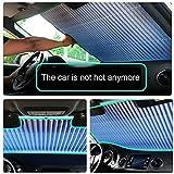 キングカニ 車のフロントガラスサンシェード、格納式フロントウィンドウプロテクターサンシェードバイザーヒートシールドカバーは のフロントガラスに適合(55.12 x 25.59インチ)
