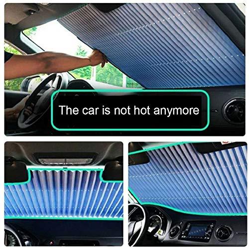 Cokeymove Auto Windschutzscheibe Sonnenschutz, Versenkbarer Frontscheibenschutz Sonnenschutz Visier Hitzeschildabdeckung Für Windschutzscheiben Verschiedener Größen (55,12 X 25,59 Zoll)