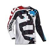 Maillot de ciclismo, manga larga transpirable para todos los deportes de carreras y entrenamiento, camisetas de montaña, camiseta de ciclo de secado rápido ropa de bicicleta (blanco, M)