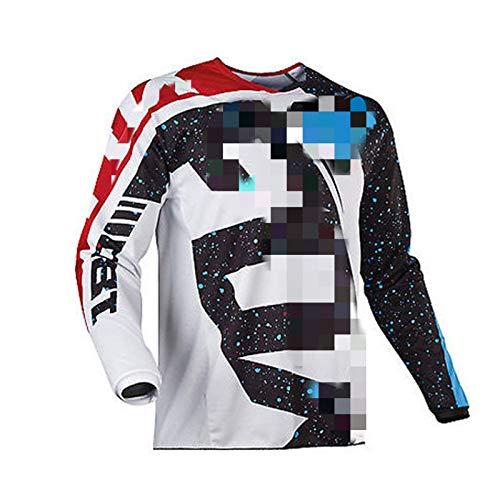 Maillot de Manga Larga para Hombre Traje de Descenso al Aire Libre, Ciclismo Tops MTB Transpirable de Secado rápido Motocross Jersey, Camisa de Bicicleta de montaña Ropa de Carreras (Blanco,XXL)