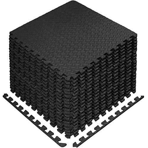StillCool Puzzle Exercise Floor Mat, EVA Interlocking Foam Tiles Exercise Equipment Mat with Border - for Gyms, Yoga, Outdoor Workout, Kids (E. 20 Square Feet (20 Tiles) - Black)