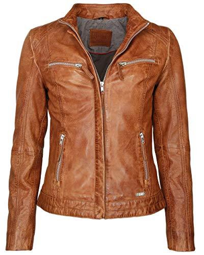 MUSTANG Damen Lederjacke Mit Zwei Brusttaschen Amilia Cognac S