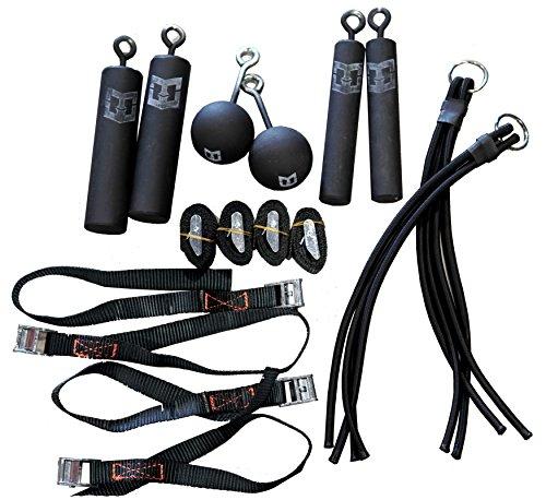 Pro Ninja Grip Kit - 8 Hanging Grips - 2 Each: 3-inch Cannonballs, Piston Grips and Bungee Grips. Climbing Bombs as seen on Ninja Warrior