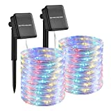 Solar Rope Lights Outdoor Waterproof Led Solar String Lights, 2 Packs 33Ft 100 Led PVC Tube 8 Modes Weatherproof Solar Powered Fairy Lights for Patio Garden Party Decoration Christmas Yard(Multi)