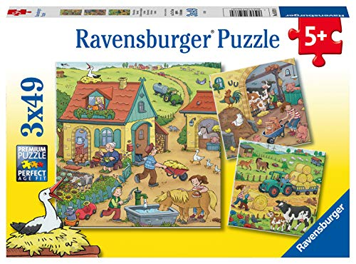 Ravensburger Kinderpuzzle 05078 - Viel los auf dem Bauernhof - 3 x 49 Teile