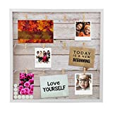 """Houseables Magnetic Collage Frame, 20"""" x 20"""", Light Rustic Wood, Multi Picture Display, Hanging Photo Board, w/Clips, 10 Magnets, for Polaroids, Postcards, Memo, Art, Dorm, Wall, Decorative Bulletin"""