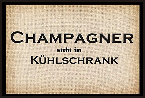 Creativ Deluxe Champagner Steht im Kühlschrank - Fussmatte Bedruckt Türmatte Innenmatte Schmutzmatte lustige Motivfussmatte